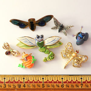 vintage lot bug insect butterfly bee pin brooch